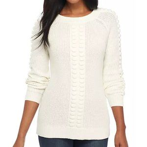 Crown & Ivy Long Sleeve Cableknit Popcorn Sweater